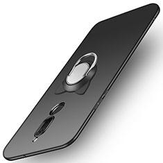 Handyhülle Hülle Kunststoff Schutzhülle Matt mit Fingerring Ständer A02 für Huawei G10 Schwarz