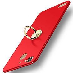 Handyhülle Hülle Kunststoff Schutzhülle Matt mit Fingerring Ständer A02 für Huawei G8 Mini Rot