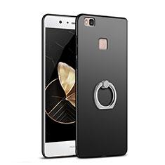 Handyhülle Hülle Kunststoff Schutzhülle Matt mit Fingerring Ständer A02 für Huawei G9 Lite Schwarz