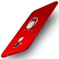 Handyhülle Hülle Kunststoff Schutzhülle Matt mit Fingerring Ständer A02 für Huawei GR5 Mini Rot