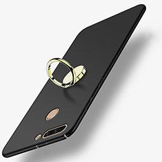 Handyhülle Hülle Kunststoff Schutzhülle Matt mit Fingerring Ständer A02 für Huawei Honor 8 Pro Schwarz