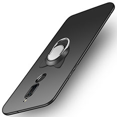 Handyhülle Hülle Kunststoff Schutzhülle Matt mit Fingerring Ständer A02 für Huawei Mate 10 Lite Schwarz
