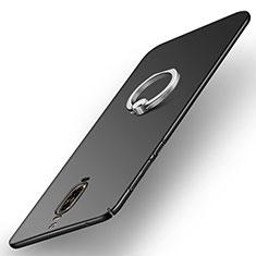 Handyhülle Hülle Kunststoff Schutzhülle Matt mit Fingerring Ständer A02 für Huawei Mate 9 Pro Schwarz