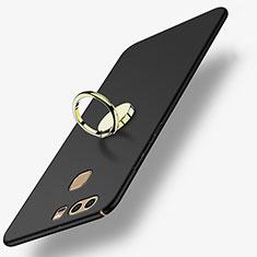 Handyhülle Hülle Kunststoff Schutzhülle Matt mit Fingerring Ständer A02 für Huawei P9 Schwarz