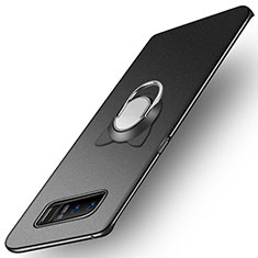 Handyhülle Hülle Kunststoff Schutzhülle Matt mit Fingerring Ständer A02 für Samsung Galaxy Note 8 Schwarz