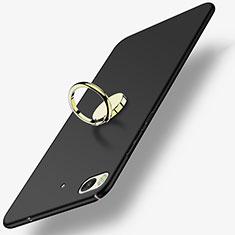 Handyhülle Hülle Kunststoff Schutzhülle Matt mit Fingerring Ständer A02 für Xiaomi Mi 5S Schwarz
