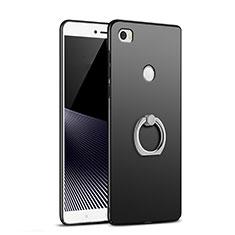 Handyhülle Hülle Kunststoff Schutzhülle Matt mit Fingerring Ständer A02 für Xiaomi Mi Max Schwarz