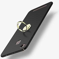 Handyhülle Hülle Kunststoff Schutzhülle Matt mit Fingerring Ständer A02 für Xiaomi Redmi 3S Prime Schwarz