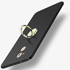 Handyhülle Hülle Kunststoff Schutzhülle Matt mit Fingerring Ständer A03 für Huawei Enjoy 6S Schwarz