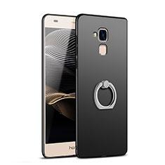 Handyhülle Hülle Kunststoff Schutzhülle Matt mit Fingerring Ständer A03 für Huawei Honor 5C Schwarz