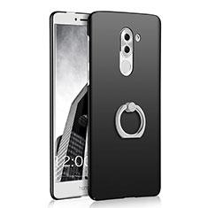 Handyhülle Hülle Kunststoff Schutzhülle Matt mit Fingerring Ständer A03 für Huawei Honor 6X Schwarz