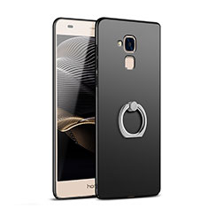 Handyhülle Hülle Kunststoff Schutzhülle Matt mit Fingerring Ständer A03 für Huawei Honor 7 Lite Schwarz