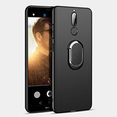 Handyhülle Hülle Kunststoff Schutzhülle Matt mit Fingerring Ständer A03 für Huawei Mate 10 Lite Schwarz