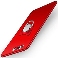 Handyhülle Hülle Kunststoff Schutzhülle Matt mit Fingerring Ständer A03 für Huawei P10 Rot