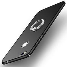 Handyhülle Hülle Kunststoff Schutzhülle Matt mit Fingerring Ständer A03 für Huawei P8 Lite (2017) Schwarz