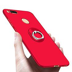 Handyhülle Hülle Kunststoff Schutzhülle Matt mit Fingerring Ständer A03 für Xiaomi Mi 5X Rot