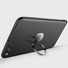 Handyhülle Hülle Kunststoff Schutzhülle Matt mit Fingerring Ständer A03 für Xiaomi Mi 6 Schwarz