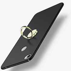 Handyhülle Hülle Kunststoff Schutzhülle Matt mit Fingerring Ständer A03 für Xiaomi Mi Max Schwarz