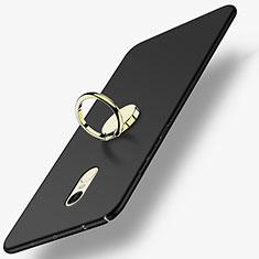 Handyhülle Hülle Kunststoff Schutzhülle Matt mit Fingerring Ständer A03 für Xiaomi Redmi Note 4 Schwarz