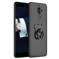 Handyhülle Hülle Kunststoff Schutzhülle Matt mit Fingerring Ständer A04 für Huawei Mate 9 Schwarz