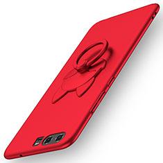 Handyhülle Hülle Kunststoff Schutzhülle Matt mit Fingerring Ständer A04 für Huawei P10 Rot