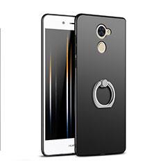 Handyhülle Hülle Kunststoff Schutzhülle Matt mit Fingerring Ständer A04 für Huawei Y7 Prime Schwarz