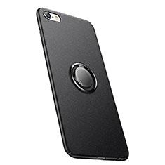 Handyhülle Hülle Kunststoff Schutzhülle Matt mit Fingerring Ständer A05 für Apple iPhone 6S Schwarz