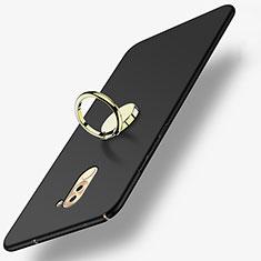 Handyhülle Hülle Kunststoff Schutzhülle Matt mit Fingerring Ständer A05 für Huawei Honor 6X Schwarz