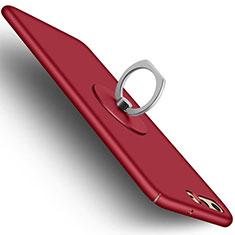 Handyhülle Hülle Kunststoff Schutzhülle Matt mit Fingerring Ständer A05 für Huawei P10 Rot
