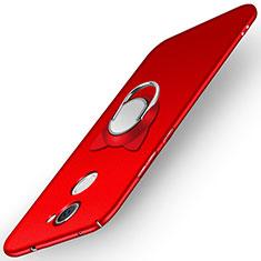 Handyhülle Hülle Kunststoff Schutzhülle Matt mit Fingerring Ständer A05 für Huawei Y7 Prime Rot