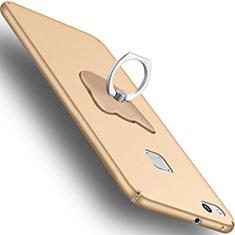 Handyhülle Hülle Kunststoff Schutzhülle Matt mit Fingerring Ständer C01 für Huawei P10 Lite Gold