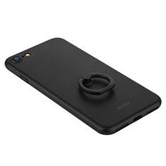 Handyhülle Hülle Kunststoff Schutzhülle Matt mit Fingerring Ständer F01 für Apple iPhone SE (2020) Schwarz