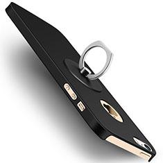 Handyhülle Hülle Kunststoff Schutzhülle Matt mit Fingerring Ständer für Apple iPhone 5S Schwarz