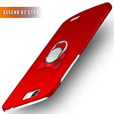Handyhülle Hülle Kunststoff Schutzhülle Matt mit Fingerring Ständer für Huawei Ascend G7 Rot