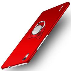 Handyhülle Hülle Kunststoff Schutzhülle Matt mit Fingerring Ständer für Huawei Ascend P7 Rot