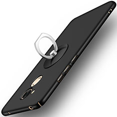 Handyhülle Hülle Kunststoff Schutzhülle Matt mit Fingerring Ständer für Huawei Honor 6C Pro Schwarz