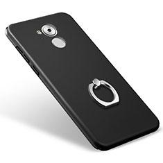 Handyhülle Hülle Kunststoff Schutzhülle Matt mit Fingerring Ständer für Huawei Honor 6C Schwarz
