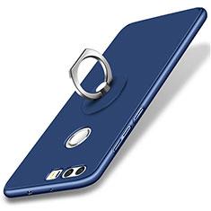 Handyhülle Hülle Kunststoff Schutzhülle Matt mit Fingerring Ständer für Huawei Honor 8 Blau