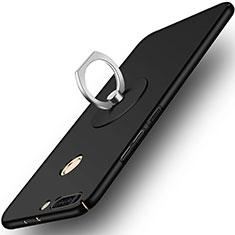 Handyhülle Hülle Kunststoff Schutzhülle Matt mit Fingerring Ständer für Huawei Honor 8 Pro Schwarz