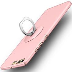 Handyhülle Hülle Kunststoff Schutzhülle Matt mit Fingerring Ständer für Huawei Honor 9 Rosa