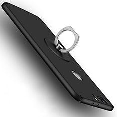 Handyhülle Hülle Kunststoff Schutzhülle Matt mit Fingerring Ständer für Huawei Honor V8 Schwarz