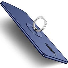 Handyhülle Hülle Kunststoff Schutzhülle Matt mit Fingerring Ständer für Huawei Mate 9 Pro Blau
