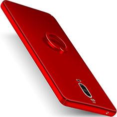 Handyhülle Hülle Kunststoff Schutzhülle Matt mit Fingerring Ständer für Huawei Mate 9 Pro Rot