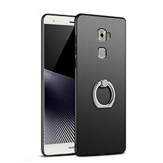 Handyhülle Hülle Kunststoff Schutzhülle Matt mit Fingerring Ständer für Huawei Mate S Schwarz