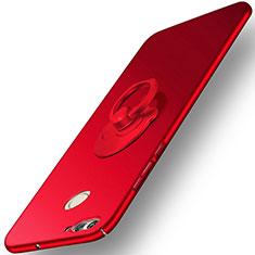 Handyhülle Hülle Kunststoff Schutzhülle Matt mit Fingerring Ständer für Huawei Nova 2 Plus Rot