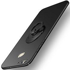 Handyhülle Hülle Kunststoff Schutzhülle Matt mit Fingerring Ständer für Huawei Nova 2 Schwarz