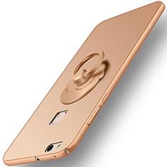 Handyhülle Hülle Kunststoff Schutzhülle Matt mit Fingerring Ständer für Huawei P10 Lite Gold