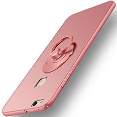 Handyhülle Hülle Kunststoff Schutzhülle Matt mit Fingerring Ständer für Huawei P10 Lite Rosegold