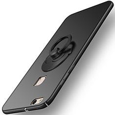 Handyhülle Hülle Kunststoff Schutzhülle Matt mit Fingerring Ständer für Huawei P10 Lite Schwarz