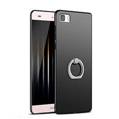 Handyhülle Hülle Kunststoff Schutzhülle Matt mit Fingerring Ständer für Huawei P8 Lite Schwarz
